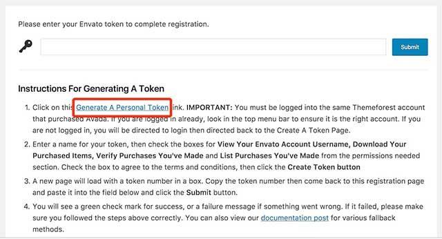 Avada 5 API 密钥
