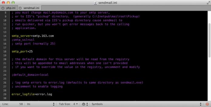 Windows下用Xampp+Sendmail组件为Wordpress 发邮件 - sendmail ini e1399966733178