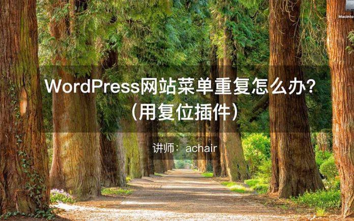 WordPress网站菜单重复怎么办? - menu repeat