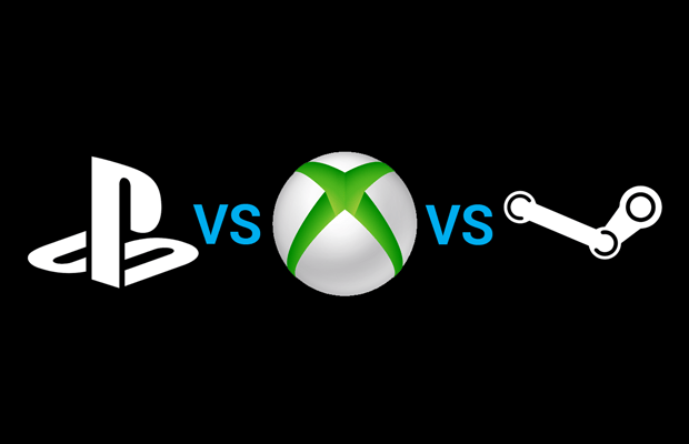 PS4、XOne,NS,PC 四大游戏平台怎么选性价比最高? - xbox one vs ps4 vs steam machine logo