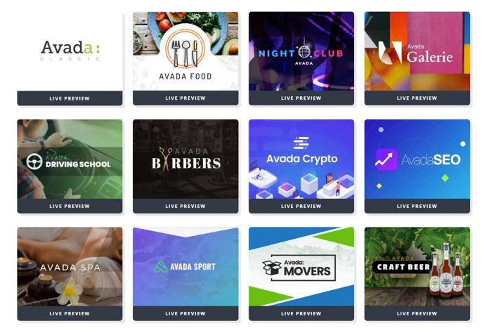 82个WordPress主题 Avada Demo 演示网站 截止2021年4月14日 Avada7.3 - Avada demos 01