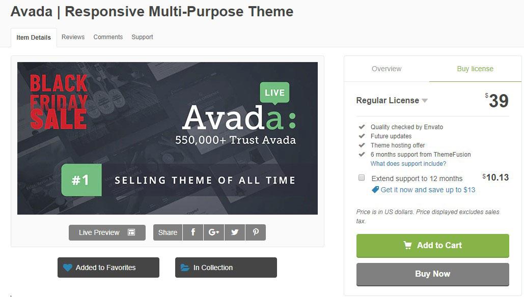 Avada主题39美元 (黑色星期五价格) - avada 39