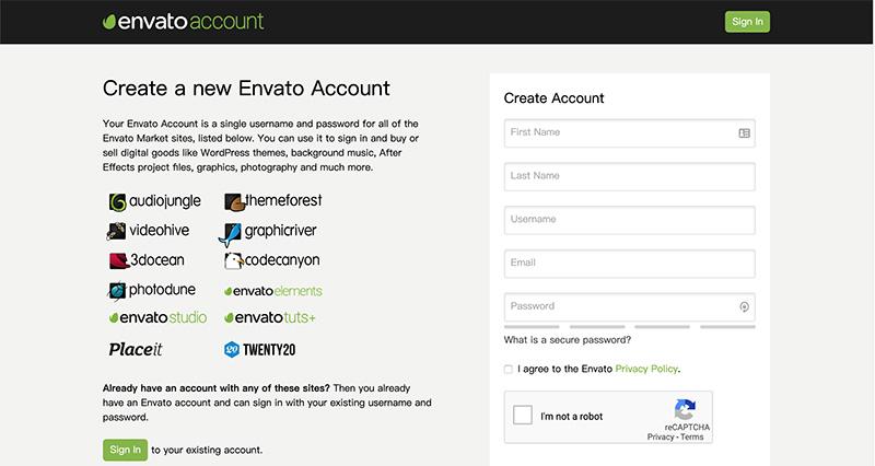 如何注册envato账号?(ThemeForest平台)相关经验分享 - envato 1